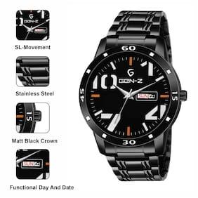 Gen-Z Genz-Sn-Gundd-0009 Black Dial Stainless Steel Day And Date Gun Metal Watch For Men