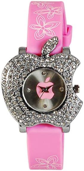 Geneva Pink Round Analog Watch