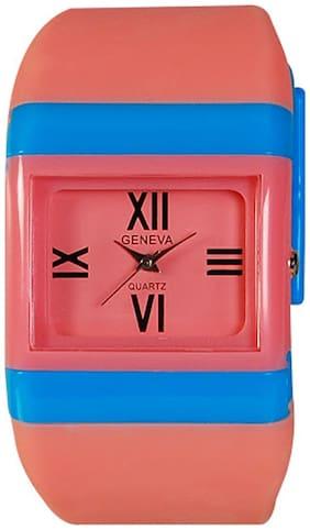 Geneva Pink Rectangle Analog Watch