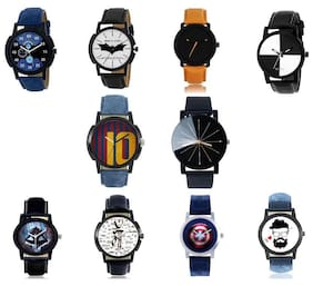 GenZ CO10-0003 Bestselling Combo of 10 Trendy Analog Watches For Men