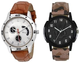 GFlamexy brown & multi coloure strap to model combo pack of 2 men / boys watch