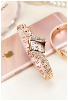 GIRISA Rhinestone Studded Rose Gold Fancy Party Wear Bracelet Wrist Watch For Girl's & Women's - Hot Selling Bracelet Watch