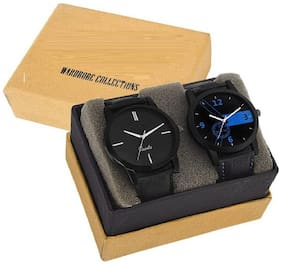 Glamexy black to black model for combo pack of 2 men watch