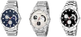 Glamexy new collation Top model stanless steel  combo pack of 3 men watch