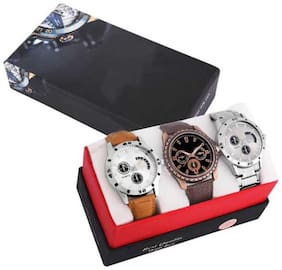 GLAMEXY New Stylish Fancy SS Back Steel Band With Unique Dal Combo Set Of 3 Men Watch