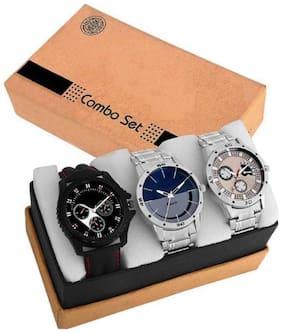 Black;Blue;Silver Analog Watch