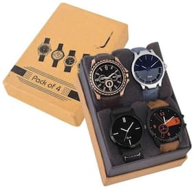 "GLAMEXY  New Stylish Unique Devine Iteam Genuine Leather Strap Combo Pack Of 4 Men""s Watch"