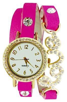 Golden And Pink Diamond Studded Love Wrist Watch For Women