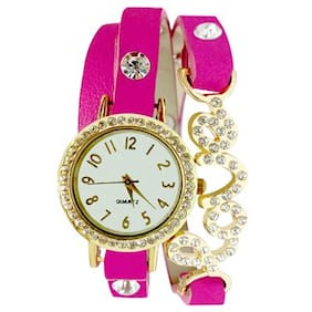 Golden And Pink Diamond Studded Love Wrist Watch For Women