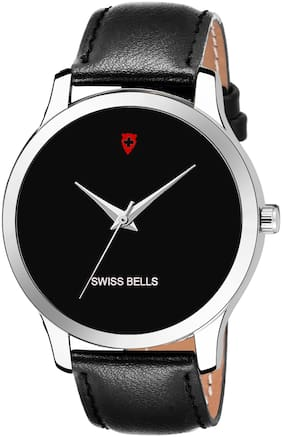 Golden Bell Graphic Black Dial Black Leather Strap Men's and Boys Watch - GB-1345