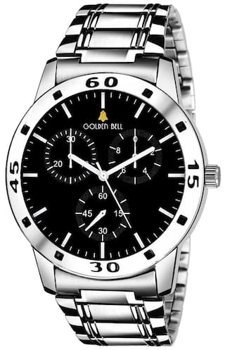 675123cebec2 Golden Bell Original Black Dial Silver Stainless Steel Chain Analog Wrist  Watch for Men - GB