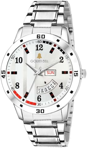 Golden Bell Professional Day and date Calender Function Chronograph Display White Dial Silver Metal Chain Men's and Boys Watch - GB-1168