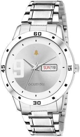 Golden Bell Sen ora Day and date Calender Function Chronograph Display Silver Dial Silver Metal Chain Men's and Boys Watch - GB-1166