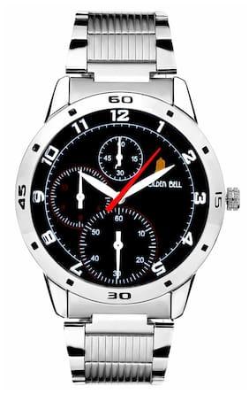 Golden Bell Men's Silver & Black Round Dial Analog Metal Strap Wrist Watch (273gb)