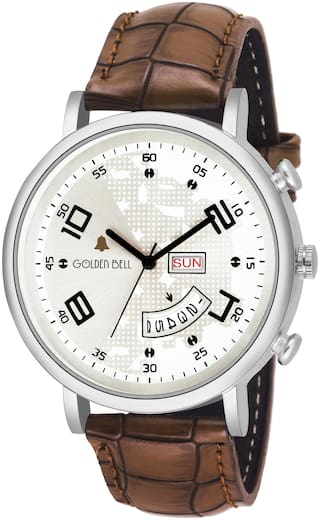 Golden Bell Official Day and Date Calender Function Analogue Display White Dial Brown Leather Strap Boys and Men's Watch - GB-1212