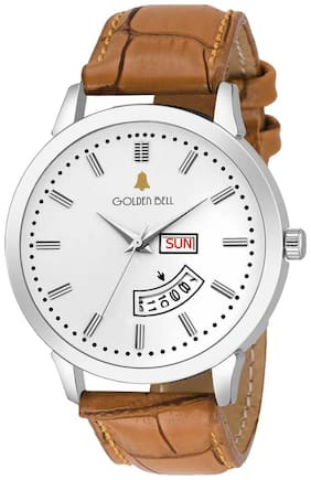 Golden Bell Stylish Day and Date Calender Function Analogue Display White Dial Tan Brown Leather Strap Boys and Men's Watch - GB-1193