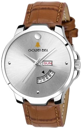 Golden Bell Exclusive Day and date Analog Display Silver Dial Brown Strap Boys and Men's Watch - GB-1224