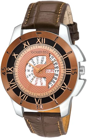 Golden Bell - Day and Date Brown Dial Brown Strap Multifunction Analog Wrist Watch for Men - GB-1080