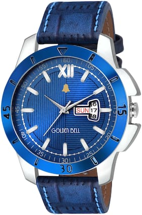 Golden Bell - Day and Date Blue Dial Blue Strap Multifunction Analog Wrist Watch for Men - GB-1079