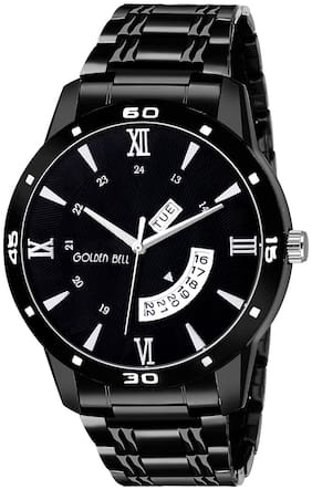 Golden Bell - Day and Date Black Dial Black Steel Chain Analog Men's Watch - GB-1338
