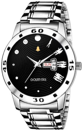 Golden Bell Exclusive Day and date Analog Display Black Dial Silver Steel Chain Boys and Men's Watch - GB-1227