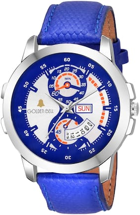 Golden Bell Navy Day and date Calender Function Chronograph Display Multicolour Dial Blue Leather Strap Men's and Boys Watch - GB-1159