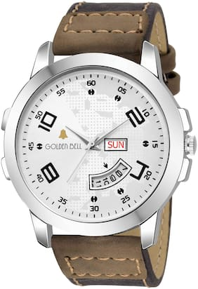 Golden Bell Alabaster Day and date Calender Function Chronograph Display White Dial Brown Leather Strap Men's and Boys Watch - GB-1158