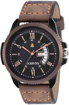 Golden Bell Jaguar Day and Date Calender Function Chronograph Display Brown Dial Men's/Boys Watch - GB-1132