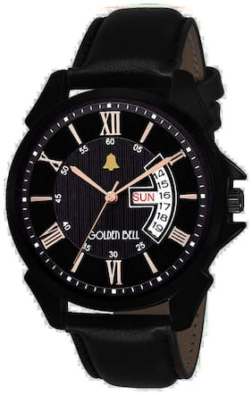 Golden Bell New Style Day and Date Calender Function Analogue Display Black Dial Black Leather Strap Boys and Men's Watch - GB-1185