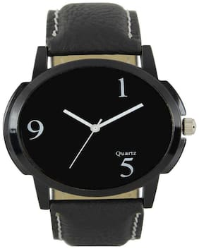 Gopal Retail Casual Analogue Black Leather Strap Multicolour Dial Men's Watch Watch - For Men