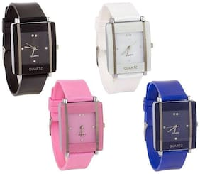 Gopal Shopcart Square GLORY KAWA White-Black-Blue-Pink Multicolour Combo Pack Of - 4 For Girls Watch Watch