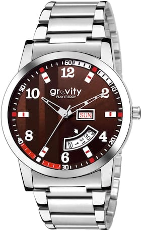 Gravity Brown Stainless Steel Day and Date Analog Watch