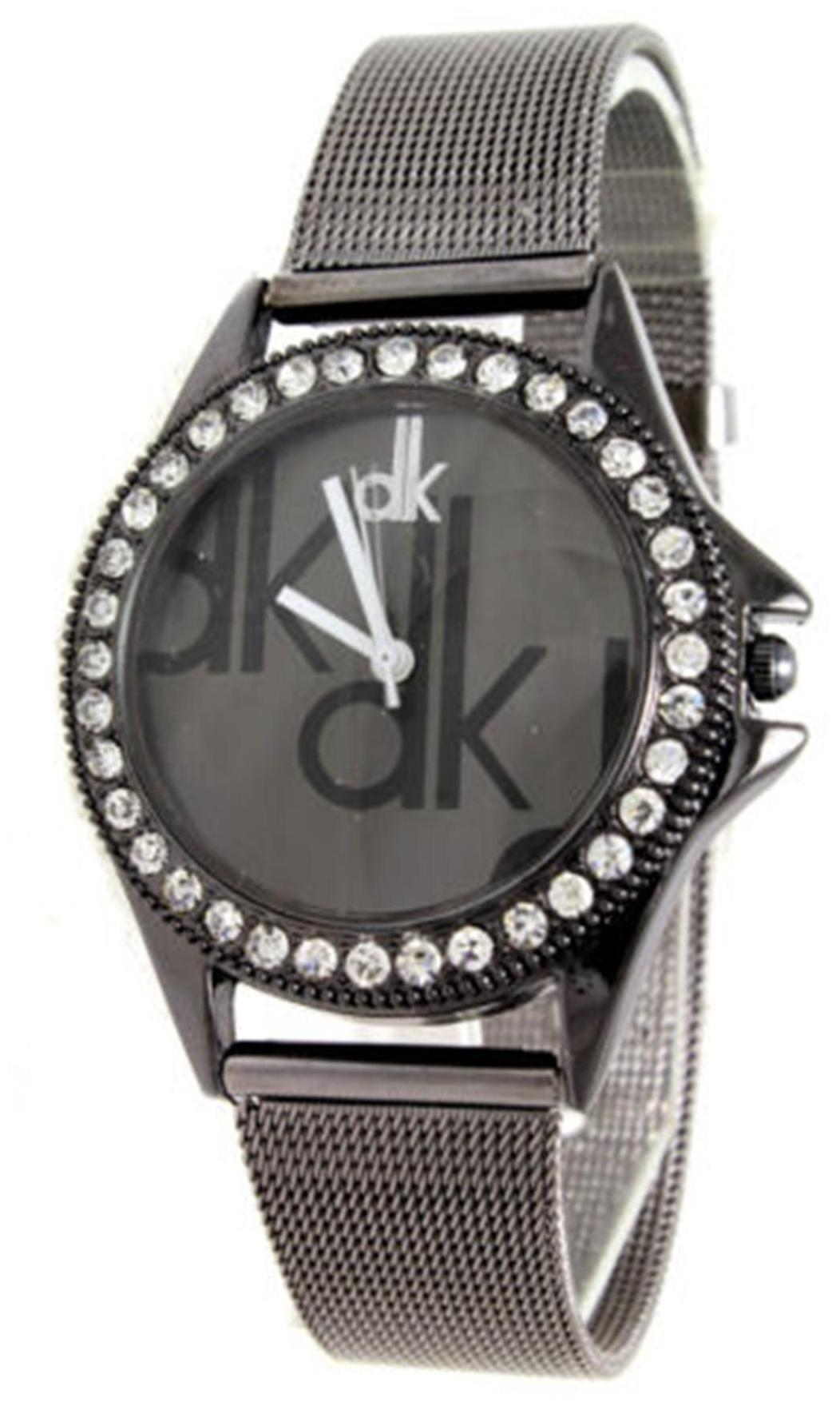 Grey Crystunned dial with Velcro strap for women. image