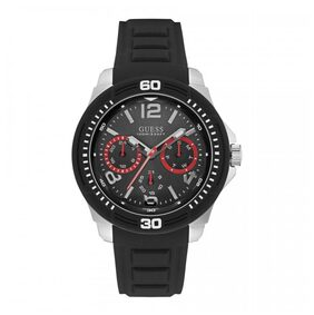 GUESS Chronograph Mens Tread Black Strap Black Dial W0967G1