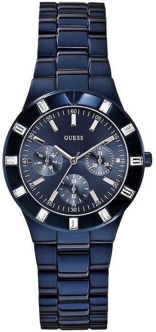 4d16be303a12 Buy GUESS Women s Glisten Blue-Tone Stainless Steel Bracelet Watch ...
