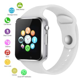 Hadwin AD4 Bluetooth Smart Watch, Touchscreen Smart Wrist Watch Smartwatch Phone Fitness Tracker with SIM SD Card Camera Pedometer Compatible iOS iPhone Android for Men Women Boys Girls (White)