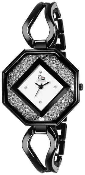 Happy Khajana Analogue Black Steel Strap And White Dial With Black Shade Watch Women