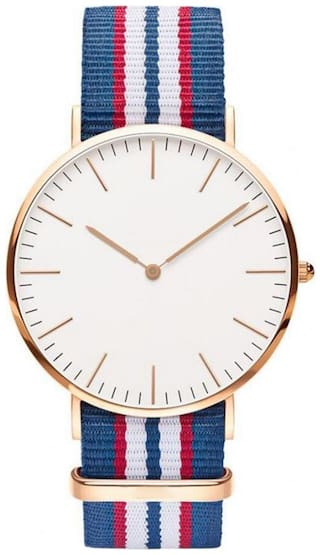 Heer Nx Classic White Dial Red;Blue & White Canvas Strap Mens;Women;Kids;Girls Watch