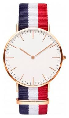 Heer Nx Classic White Dial Blue;White & Red Canvas Strap Watch