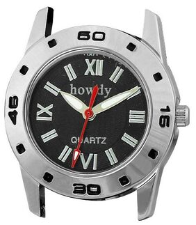 Howdy Beautiful Black Dial With Black Leather Strap Analog Watch