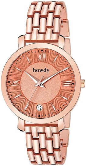 Howdy Rose Gold Stainless Steel Watch for Women & Girls