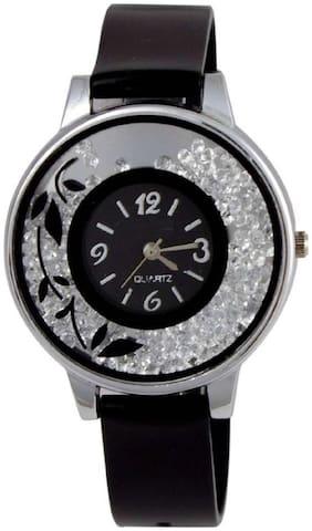 HRV Black Flawer Glass Prin Dimond same Strap watches for women