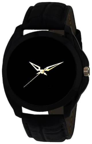 HRV Black Round Leather C-176 Centix Watch - For Men