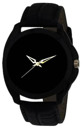 HRV Black Round Leather C-176 Centix Watch - For Men