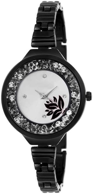 HRV Black slim Strap movable crystals rosegold attractive flower dial watch for women Watch - For Girls