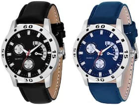 HRV Black_Blue Leather COMBO OF 2 CHRONOGRAPH PATTER Watch - For Men