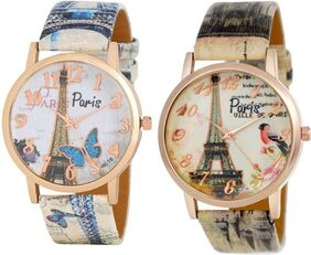 HRV Blue ButterFly and Chidiya Eiffel Tower Collection Leather Girls and Women Watch