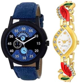 HRV Blue no2  and White Peacock akxMen And Women Couple Watch