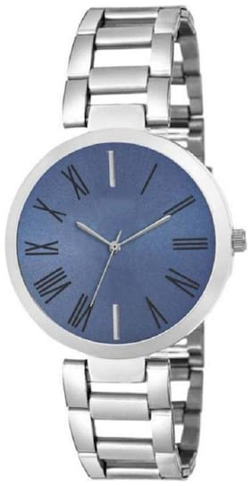 HRV Blue Shineble Dial Stainless ~ Still ~ Strap Rich~Look Women Watch - For Girls