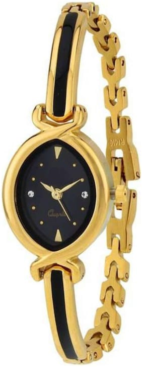 HRV  Bracelate Pattern Golden Black Dial ~ JEWELLERY ~ Designer Watch For Women Watch - For Girls
